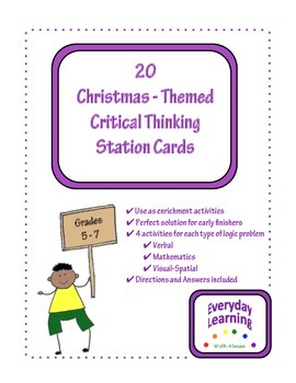 20 Christmas Critical Thinking Station Cards