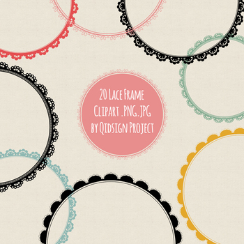 20 Circle lace frame clipart with colors and black PNG