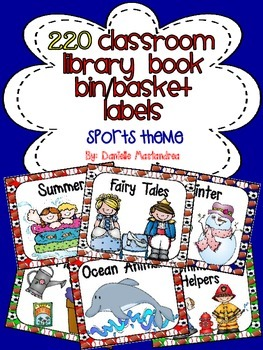 220 Classroom Library Book Bin / Basket Labels {Sports Theme}