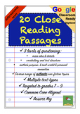 Nonfiction Information Close Reading Comprehension Passages & Questions + GOOGLE