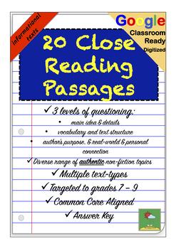 Nonfiction Information Close Reading Comprehension Passages & Questions +  GOOGLE