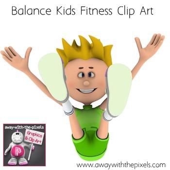 20 Color Fitness Kids Clip Art - Balance