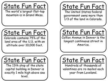 20 Colorado State Fact Flashcards. 1st Grade-7th Grade