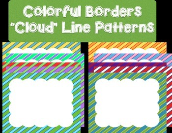 20 Colorful Borders + Frames Clipart - Clouds with Line Patterns