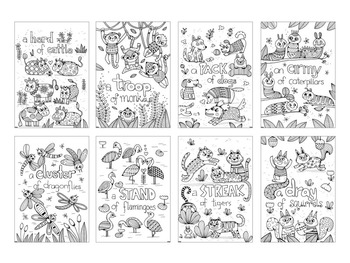 20 Colouring in Sheets - Animals with Pattern - Learn Collective Nouns