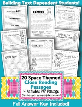 20 Common Core Space Themed Passages for Close Reading or Science Homework