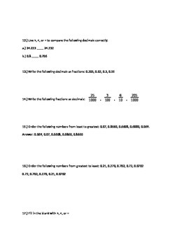 20 Comparing Decimals Higher Thinking Problems 5.NBT.3b 5.NBT.3
