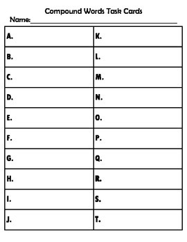 Compound Word Task Cards (20 cards)