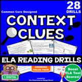 27 Context Clues ELA Reading Practice Worksheets/Test Prep