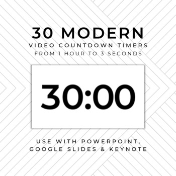 30 MODERN Video Countdown Timers - For PowerPoint, Google Slides, Keynote