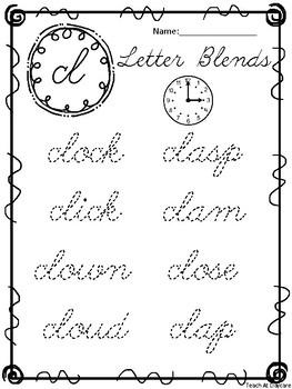20 Cursive Blends Tracing Worksheets. Kindergarten-2nd Grade ELA.