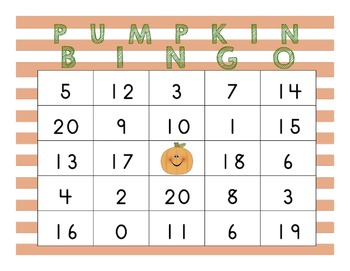 20 Custom Pumpkin Bingo Boards