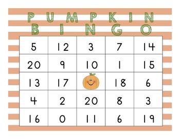 20 Custom Pumpkin Bingo Boards