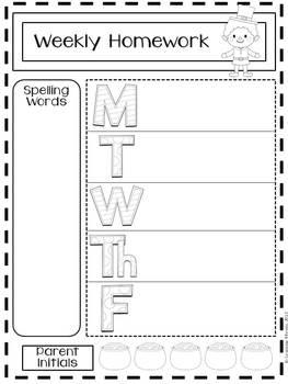 20 Customizable Blackline Homework Sheets