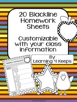 20 Customizable Blackline Homework Sheets