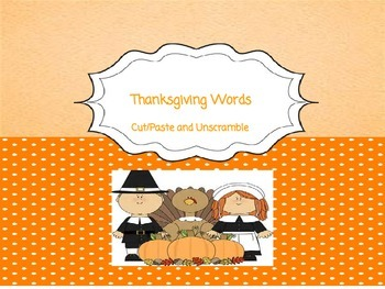 20 Cut/Paste Thanksgiving Words