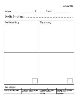 20 Day Math Strategy Pack – Data Notebook Chart, Homework, Pretest Posttest