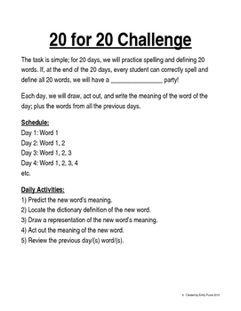 20 Day Vocabulary Challenge By Miss P Loves English Tpt