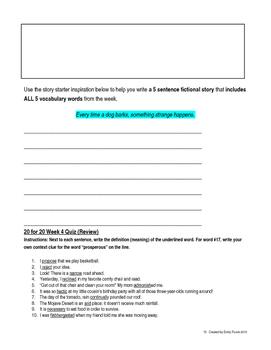 20 Day Vocabulary Challenge