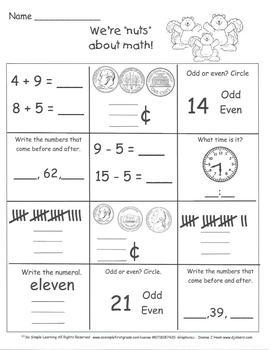 20 Days of Math Homework Days 41-60