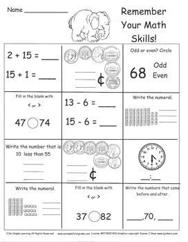 20 Days of Math Homework Days 61-80