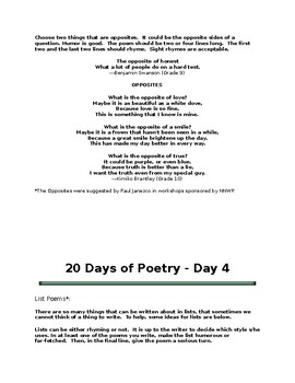20 Days of Poetry - 1 Different Poem w/ Instructions for each of 20 Days