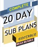 20 Day Sub Plans ELA Middle / High School English Sub Less