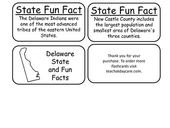 20 Delaware State Fact Flashcards. 1st Grade-7th Grade