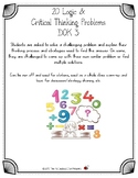 20 Different Fourth & Fifth Grade Logic &  Critical Thinking Problems DOK 3