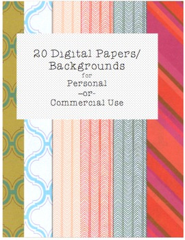 20 Digital Papers / Backgrounds from Sweet Rhyme Pure Reason
