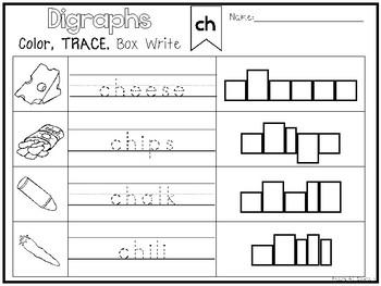 20 Digraph Color and Writing Worksheets. Kindergarten-1st Grade ELA.