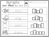 20 Digraph Color and Writing Worksheets. Kindergarten-1st