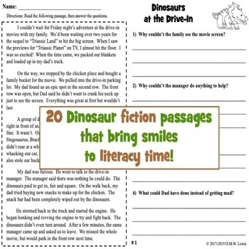 20 Dinosaur Reading Comprehension Passages: Fall Reading Comprehension FUN
