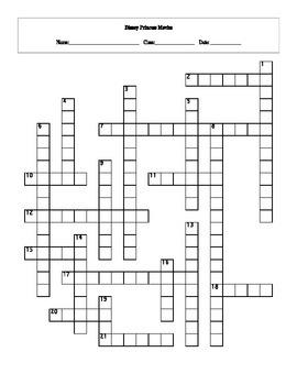 20 Disney Princess Movies Crossword with Key