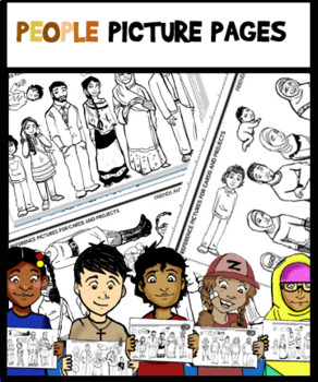 20 Diverse People Picture Pages-Cut, Color, and use in Projects!