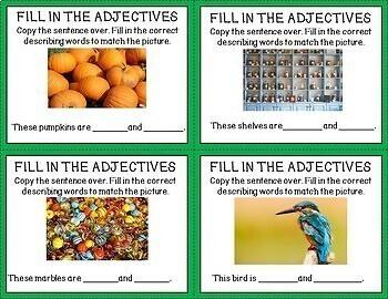ESL Task Cards-Adjectives-Vocabulary Development-Real Photos