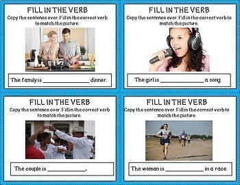 20 ESL Task Cards~present tense verbs~ vocabulary development~real photos