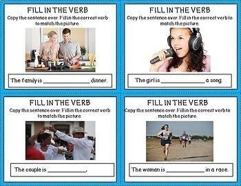 20 ESL Task Cards~present tense verbs~ vocabulary development~real photos