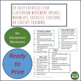20 'Ready to Go' Exercise Cards for Movement Breaks