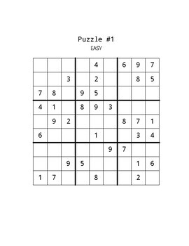 20 Easy Sudoku Puzzles