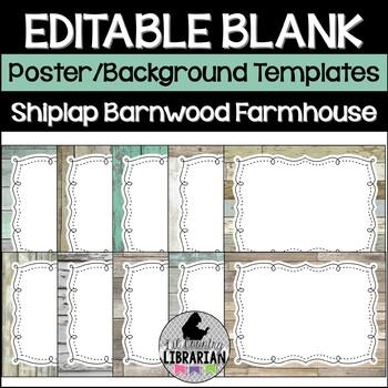 20 Editable Shiplap and Barnwood Classroom Decor Templates (Landscape)