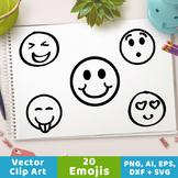 20 Emojis Clipart, Doodle Emoji Graphics, Smiley Face Clipart, Emoticon Clipart