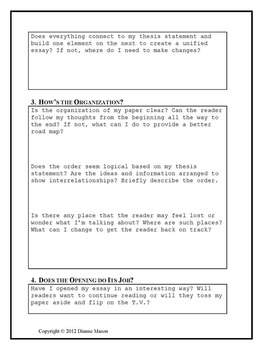 Essay Revision Questions