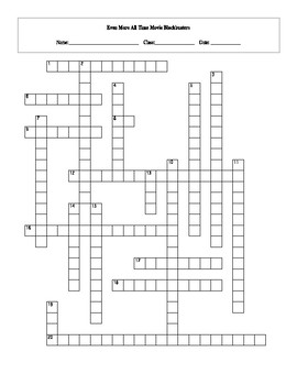 20 Even More All Time Movie Box Office Blockbusters Crossword with Key