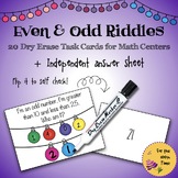 20 Even & Odd Dry Erase Task Cards+Individual Answer Sheet