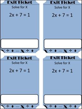 Solving Equations Exit Tickets