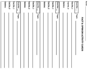 20  FACT & OPINION PRINTABLE ACTIVITY TASK CARDS Grades 2-3
