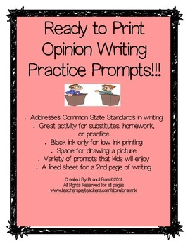 Print and Go! Opinion Writing Prompts for Practice, Homewo