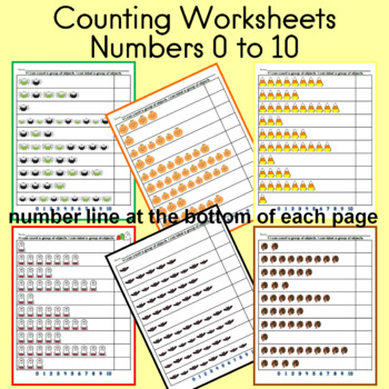 Counting Sheets for numbers 0 to 10 (Fall; 20 pages)
