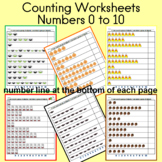 Counting Worksheets for Numbers 0 to 10 (Fall; 20 pages)